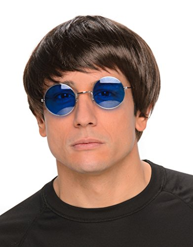 Bowl Cut Wig + Glasses Men's Oasis Gallagher Britpop Fancy Dress