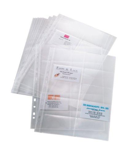 Sigel VZ351 Lot de 10 pochettes en plastique transparentes à 2 rangs pour cartes de visite, 9 x 6 cm, trasparent