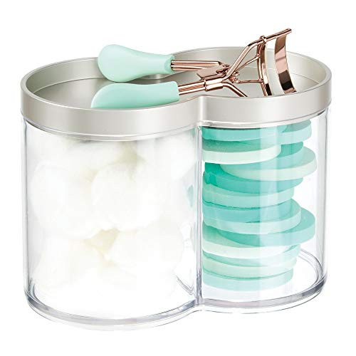 MetroDecor mDesign Caja organizadora de plástico – Tarros de plástico Ideales como dispensador de Discos de algodón o bastoncillos – Cajas apilables con práctica Tapa – Mate y Transparente