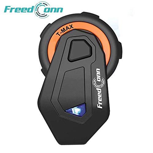 Motorrad Kommunikation System,FreedConn T-Max Helm Bluetooth Intercom(1000m Reichweite, Wasserdicht,Damit drahtlos anrufen, Telefongespräch empfangen,MP3,FM Radio,GPS,1er Set mit Weichem Kabel) (Walkie Talkie Wetter-radio)