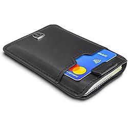TRAVANDO ® Tarjetera con SEGURIDAD RFID, PROTECCIÓN hasta 12 tarjetas (Crédito)   Billetera Fina   Pinza para Billetes   Cartera Pequeña   Estuche para Hombres