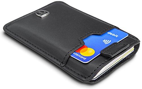 TRAVANDO  Portafogli sottili Portafoglio DALLAS RFID Protezione 12 Carte Mini Portafoglio Uomini Carta Piccolo Portafoglio Carta Soldi Clip Custodia Uomini Portafoglio (Nero)
