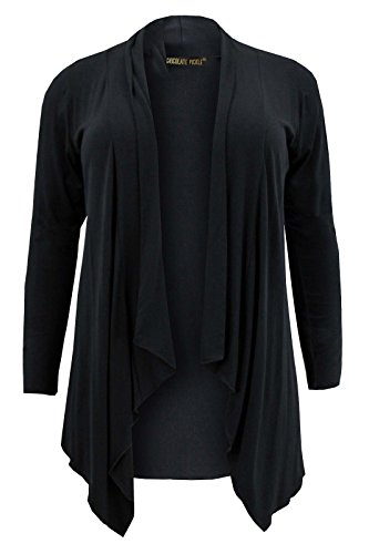Damen Übergröße, langärmelig, Jersey, Übergröße, erhältlich in Gr. 42-52 Cardigan Wasserfall-Front Schwarz - Schwarz