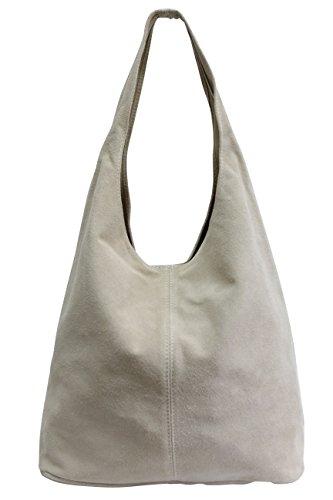 Damen Ledertasche Shopper Wildleder Handtasche Schultertasche Beuteltasche WL818 (Beige) -