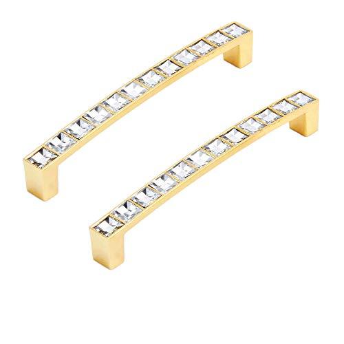 FBSHOP(TM) 128mm Möbel Griff Glas Kristall Kabinett Knöpfe und Griffe Schrank Schublade Küche Türknauf Möbel Hardware-Set von 2, Golden -