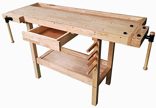 Banco da lavoro BRICO in legno 148x61x86. Tavolo in LEGNO per lavori di Bricolage, Falegname e Fai date