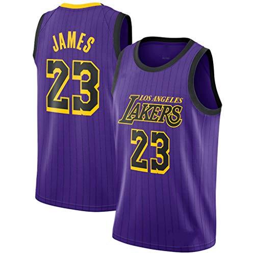 CRBsports Lebron James, Jersey De Baloncesto, Lakers, Edición De Ciudad, Tela Nueva Bordada, Ropa Deportiva De Botín (Púrpura, M)