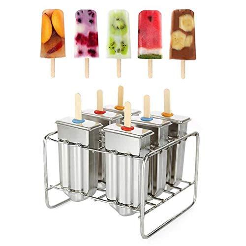 Eisformen, 6 Mulden, Edelstahl, für Eiscreme, Eiswürfelbereiter, Eiswürfelbereiter, Puck Popsicle, Eis Popsicle Formen, DIY Dessert Eiswürfel, Pudding, Gelee-Form a