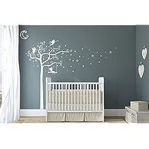 Design Divil's Premium - Vinilo adhesivo decorativo de pared de acabado mate, diseño de hadas, estrellas, luna y árbol