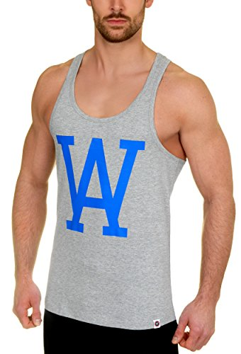 WOLDO Athletic Herren Tank Top Stringer Fitness T-Shirt Muskelshirt (M, grey) (Tank Farbe Athletic Top,)