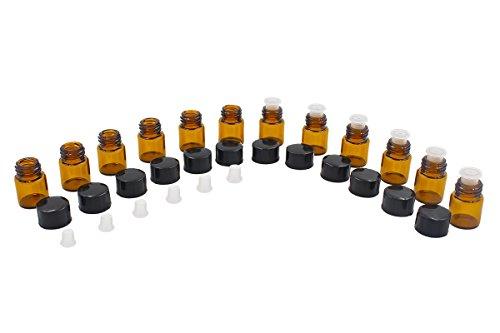1-ml-flasche (ulable ätherisches Öl Flasche 1ml Bernstein Glas Flasche mit Öffnung Reduzierstück schwarz Kunststoff Kappe (12Stück))