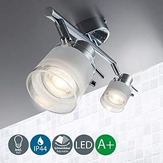 LED Bathroom Ceiling Light I Lenght 32,5 cm I Pivotable and Rotatable I Metal Glass Exterior I Chrome Design I Splash Water Proof I 2 x 5 W Illuminant I 230 V I GU10 I IP44