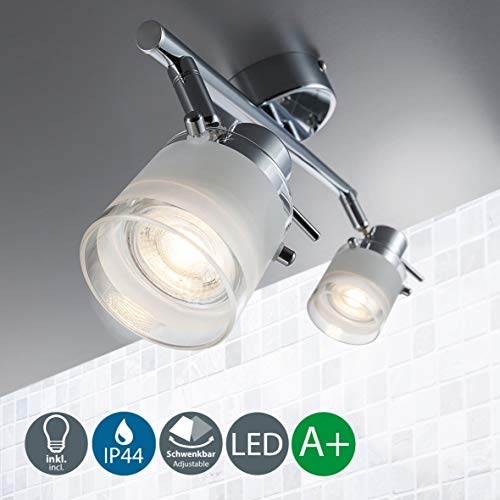 B.K.Licht LED Baddeckenleuchte I 2 flammig I schwenkbar I Chrom I Deckenleuchte I Badezimmer-Lampe I warm-weiß I 2 x 5 W GU10 I 230V I IP44 I Produkthöhe: 120 mm