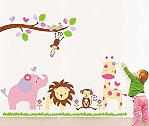 Decals Design StickersKart Wall Stickers Baby Cartoon Animal Kingdom Kids Room (Multicolor)