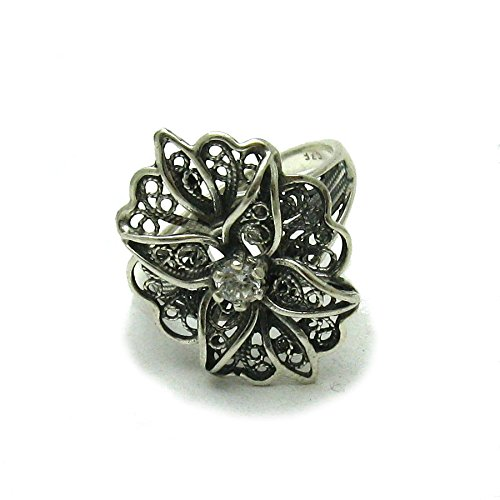 Silber Filigran Ring mit CZ 925 Empress jewellery Größe 46-69