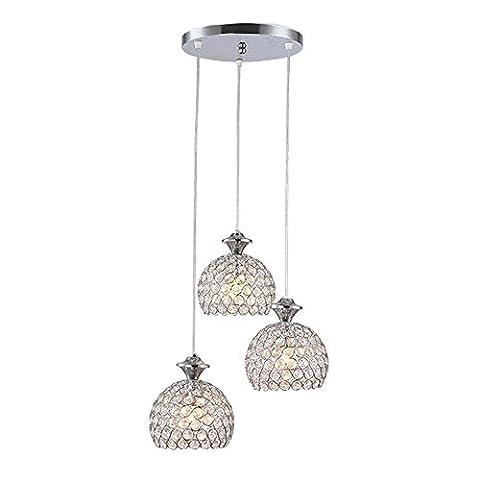 Lustre en cristal simple moderne, pendentif pendentif décoratif avec 3 lumières, chrome