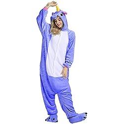 Pijama Mescara con diseño de animal, unisex, talla de adulto, de franela, para Halloween