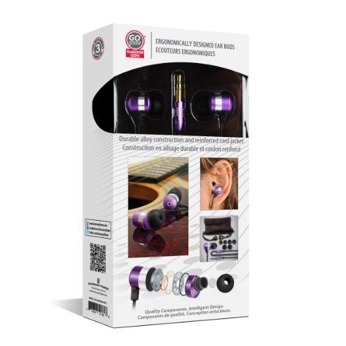 Gogroove AudiOHM - Auriculares In Ear Reducción Ruido Audio Jack 3.5mm – Compatibles con Transcend TS8GMP350B Outdoor / Mini Clip Reproductor MP3 / SanDisk Sansa Clip Zip Sport / Sansa Clip / Swees Mini-clip … y muchos otros– Color Violeta Lila