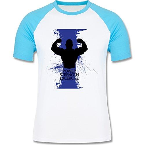 CrossFit & Workout - Power Strength Exercise - zweifarbiges Baseballshirt für Männer Weiß/Türkis