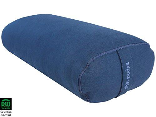 Bolster Ovale 100 % Coton Bio 60 cm x 15 cm x 30 cm - Bleu