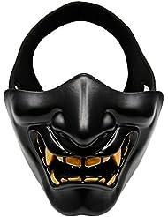 OUTRY Media Cara Máscara, Máscara táctica protectora para airsoft / Paintball / CS juego / Caza / Shooting, máscara ideal para fiestas de Halloween, Cosplay, Fiesta de disfraces y película prop (Negro)