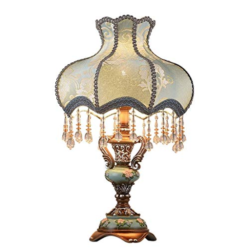 STERB European Style Tischlampe, Stoff Nachttischlampe Handgefertigte Prinzessin viktorianischen Stil Pfau Statue Harz Lampen-Körper-Schreibtischlampe (Color : Dimmingswitch) -