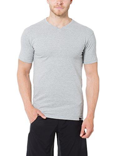 Ultrasport Herren Sport Freizeit T-Shirt mit V-Ausschnitt 5er Set Grau Melange