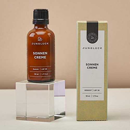 Junglück vegane Sonnencreme im Braunglas-Spender - Für natürlichen Sonnenschutz auf mineralischer Basis. Natürliche & nachhaltige Kosmetik made in Germany - 50 ml