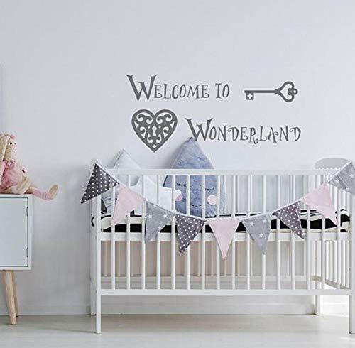 Willkommen im Wunderland Wandtattoo Kinderzimmer Zitat Wandtattoo Über Krippe Dekor Baby Wandaufkleber 94x42cm -
