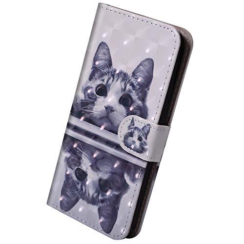 Herbests Kompatibel mit Samsung Galaxy S10e Hülle Klapphülle Leder Tasche Flip Schutzhülle Wallet Handyhülle 3D Bunt Muster Bling Glitzer Brieftasche Handytasche Case,Schwarz Katze