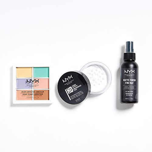 NYX Professional Makeup 3-teiliges Makeup Bestseller-Set, Color Correcting Palette, Studio Finishing Powder, Makeup Setting Spray