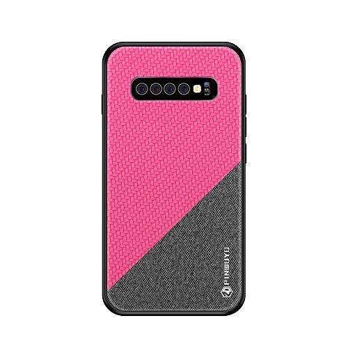 Riyeri Hülle Compatible with Samsung Galaxy S10 Plus Hülle Slim Hard PC Weicher Rand Silikonrahmen Cloth Craft Handy Schutz Schutzhülle für Samsung S10/S10e Cover 2019 (S10, Rose red 1) Red Rose Border