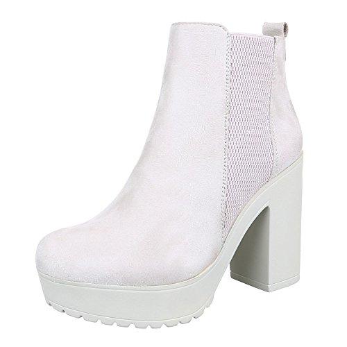 Stretch Kostüm - Ital-Design Damen Schuhe, S4837-1, Stiefeletten, Stretch Plateau Boots, Synthetik in hochwertiger Wildlederoptik, Creme, Gr 39