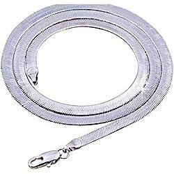 MUATE Collier en Argent 925 Unisexe Plat Serpent Lien chaîne Fermoir Mousqueton collares collares pour Hommes Hommes S-N21 50cm