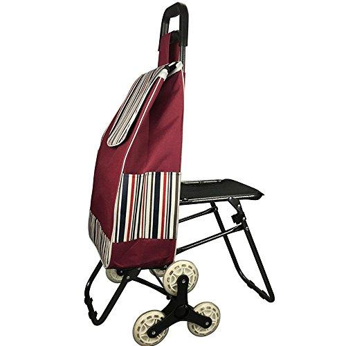 HCC& Trolley Dolly Shopping Lebensmittelgeschäft Faltbare Klettern die treppe Supermarkt Handwagen 6 Rad Utility Cart Reise Lieferungen Mit sitz , A (Anhängerkupplung Dolly)