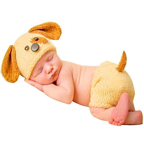 H.eternal Hündchen Kostüm Fotografie Prop Outfit Neugeborene Junge mädchen Unterhosen Beanie Strickmütze Cap Handarbeit Bekleidungsset (Gelb) (Hündchen Kostüm Für Mädchen)