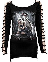 Angel's cry, gothic fantasy metal t-shirt ange dames met mouwen zwart longue