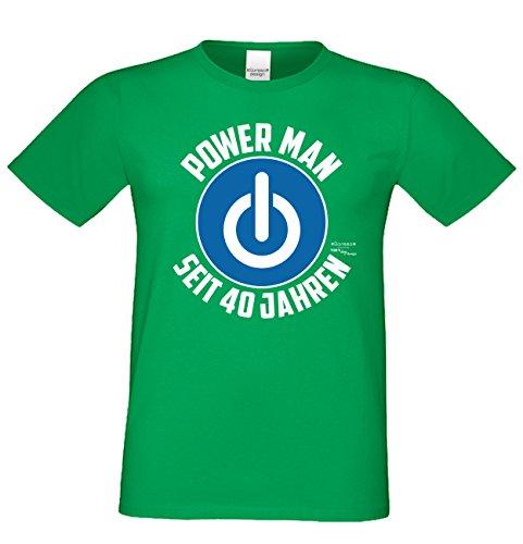 Für Männer Geschenk zum 40. Geburtstag Herren T-Shirt als Geschenkidee für Ihn zum runden Geburtstag Powerman seit 40 Jahren auch Übergrößen 3XL 4XL 5XL