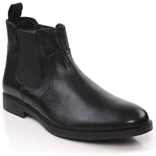 Unze Heav' Maschi pelle formale ufficio azienda casuale Chelsea stivali Nero