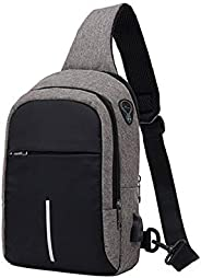 YOUBAMI Sling Backpack Chest Bag, Double Zipper Water Repellent Anti-Theft Multipurpose Chest Crossbody Should