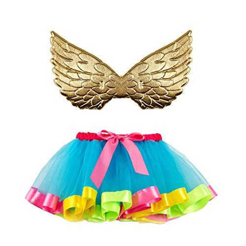 Dasongff Rainbow Tutu Rock mit Flügel 2 Stück Kinder Prinzessin Kleid Unterrock Partykleid Ballett Outfit Engelsflügel Leistung Kostüm Wings für Kleinkind Mädchen Fasching Karneval Halloween (Ballett Boy Kostüm)