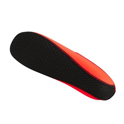 FNKDOR Badeschuhe Strandschuhe Aquaschuhe Wasserschuhe Schwimmschuhe Wasserdicht Barfußschuhe Wasser Barfuß Yoga Schuhe Socken Damen Herren Kinder(38,Orange) Cone Heel
