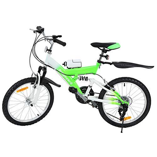 MuGuang Bicicleta de Montaña 20 Pulgadas Bicicleta Infantil 6 Speed Come with 500cc Kettle para Niños de 7 a 12 Años(Verde)