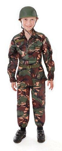 Camouflage Soldat - Kinder Kostüm - Large - 134 bis 146 (Kostüme Camouflage)