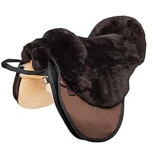 CHRIST Fellsattel Cloud Spezial hochwertiger, baumloser Lammfell-Sattel, Bare-Back-pad aus echtem Fell, handgefertigter Pferde-Sattel in Natur, braun & anthrazit, Größe Warmblut & Pony