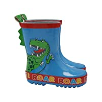 Dinosaur Roar Boys Blue TY Character Pull on Scale Back Detail Wellies Splash Welly Boots