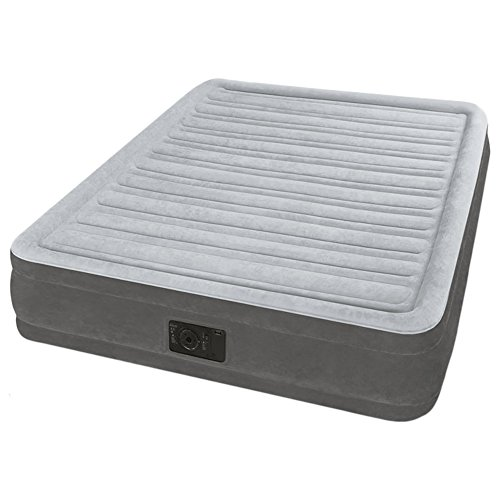 Intex Fibertech Comfort Plush - Colchón hinchable, 137 x 191 x 33 cm, color gris