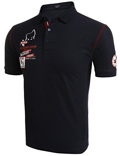 COOFANDY Poloshirt Herren mit Aufdruck einfarbig kurzarm Sommer Shirt Blau