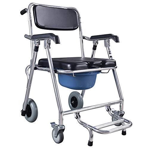duschstuhl fahrbar Commode Chair Yuehg Toilettenstuhl Verchromter Stahl Mit Deckel Rollstuhl Mit WC-Eimer Fahrbarer Duschstuhl Mit Feststellbare Bremsen Maximale Belastbarkeit 180 Kg,Black