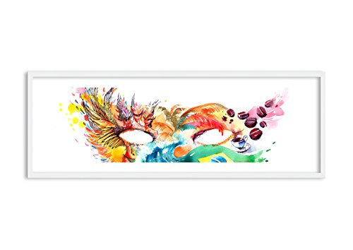 Bild im weißen Holzrahmen - Bild im Rahmen - Bild auf Leinwand - Leinwandbilder - Breite: 140cm, Höhe: 50cm - Bildnummer 3036 - zum Aufhängen bereit - Bilder - Kunstdruck (Kostüme Rio Festival)